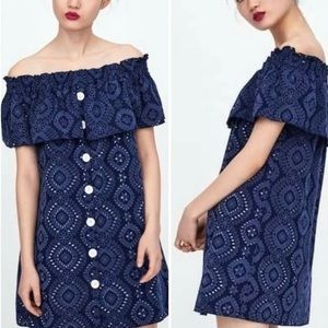 NWOT Zara Eyelet Ruffle Off the Shoulder Dress